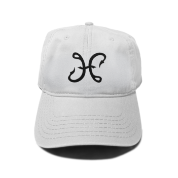 Hook & Porter Logo 6-Panel Dad Hat White