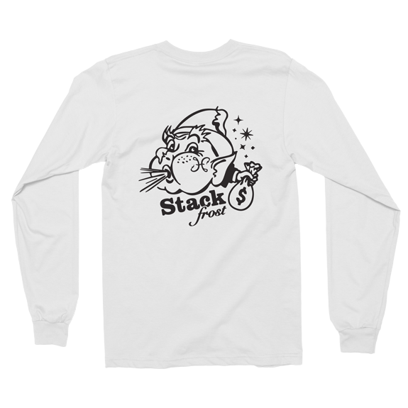 Hook And Porter Stack Frost Long Sleeve Tee White Back